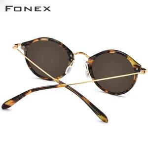 Image 4 - FONEX Elastische B Titan Polarisierte Sonnenbrille Frauen Marke Designer Vintage Runde Sonnenbrille für Männer Retro Acetat Sonnenbrille