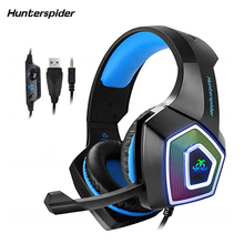 Hunterspider V1 3.5mm PS4 Gaming Headset Bass casque Stereo PC Gamer Headphone with Microphone RGB LED Light for Phone Xbox One недорого