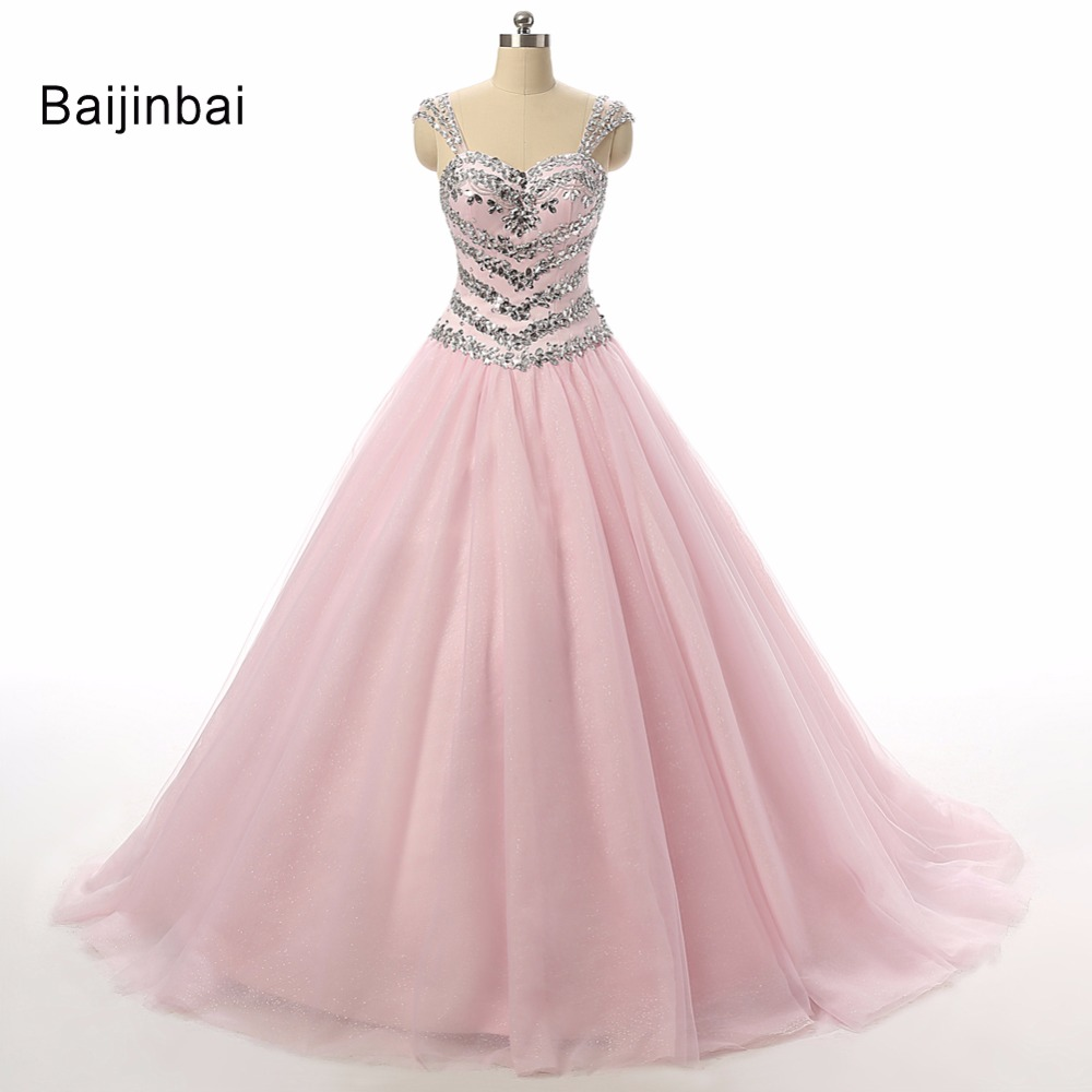 Baijinbai Stunning Real Long Pink Crystal Plus Size Sweetheart Princess Lace Up vestido de noiva Bridal Wedding Dresses S121605
