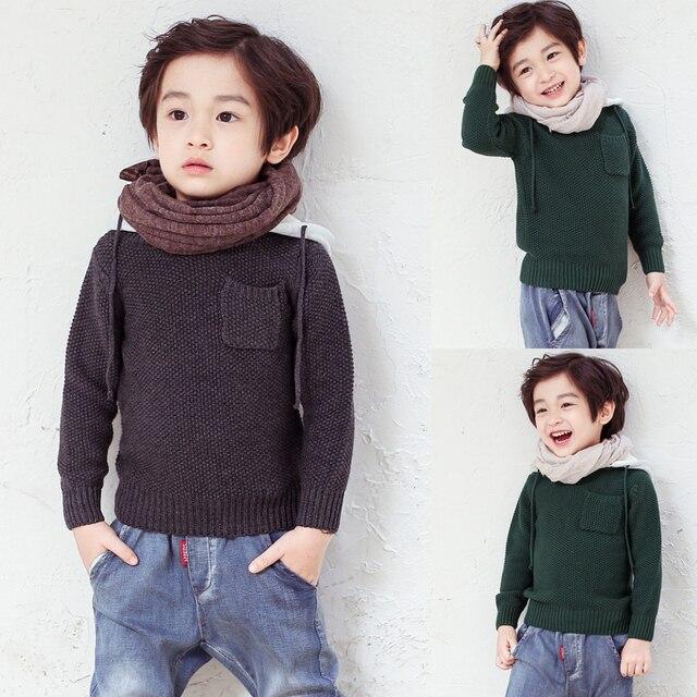Высокое качество известный бренд вязание детская одежда мальчика с капюшоном свитер цю дон хлопок свитер 1-8 лет дети 3 цвета QWER03