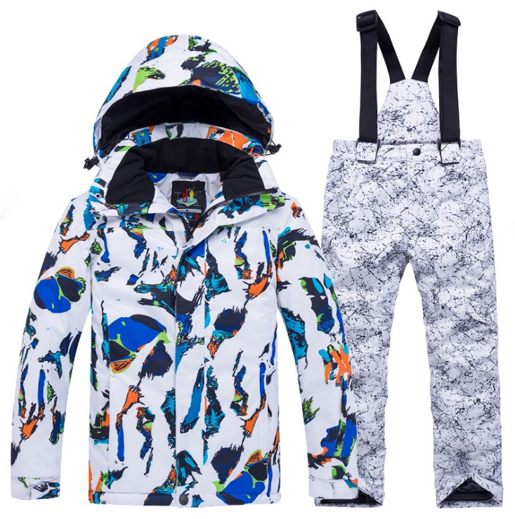 Children Skiing Suit Quality Waterproof Hooded Jacket Parkas+pants Girl Boy Winter Clothes Ski Snowboarding 2pcs Suits Outfit