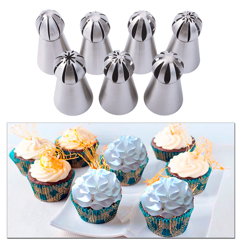 7pcs Set Metal Stainless Steel Cutters Professional Cake Decorators Russian Pastry Nozzles Piping Tips For Kitchen Baking 86912 In Baking Pastry Tools
