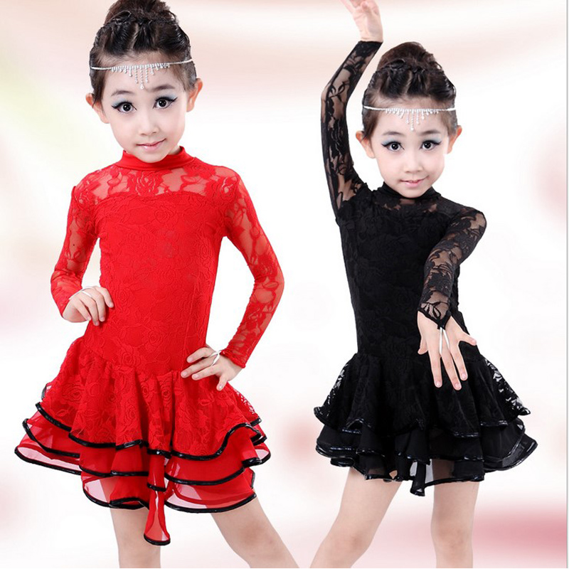 children black red Lace flower Dance latin Dress For Girls Top&Skirt Dance Wear Vestido De Baile Latino Kids Dance Costumes