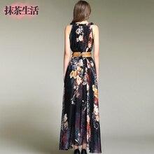 Full dress female 2017 summer dress women's clothing elegant chiffon plus size print sleeveless o-neck slim dress free shipping