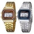 Mujeres de los hombres LED Digital Reloj de Acero Inoxidable Reloj de Oro de Plata de Época LED Digital Deportes Relojes Militares Relogio masculino
