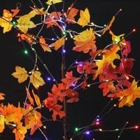 5 stks/partijen Colth Esdoorn Bladeren Fairy Light Gemengde Kleur Blad Herfst Lichtslingers 10LED Fall Guirlande Decoratie Batterij-aangedreven