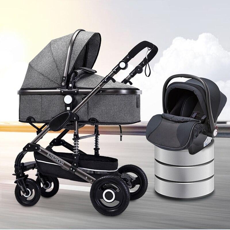 Poussette bébé bidirectionnelle poussette bébé 3 en 1 haut paysage pliable portable chariot siège auto sur la poussette