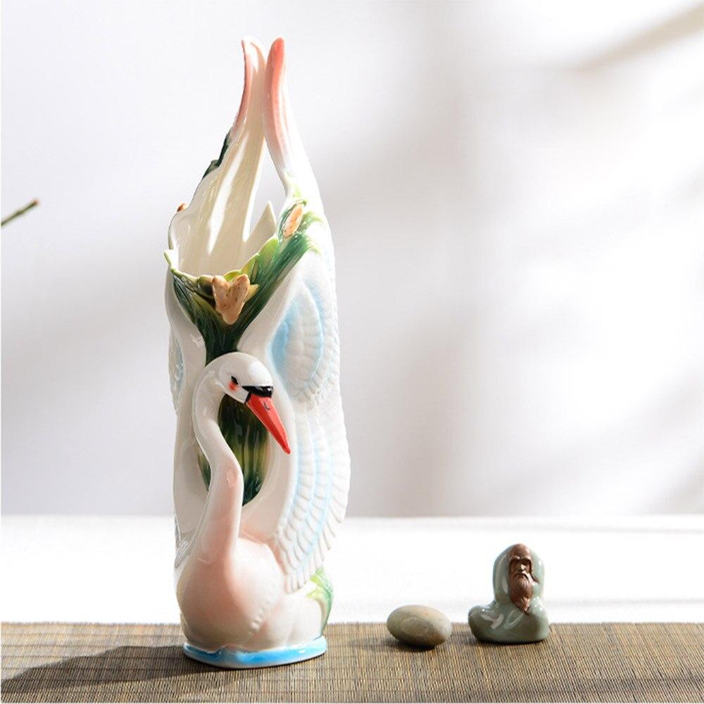 كبار المينا الأوروبي نمط زهرة زهرية الفخار بجعة زهرية زفاف زخرفة الخزف المنزل المزهريات للزهور الخزف