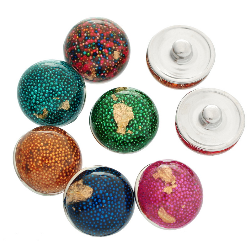 Snap Press Button Seed Beads Resin Round Click DIY Crafts Making Finding Mixed 18mm 10Pcs image