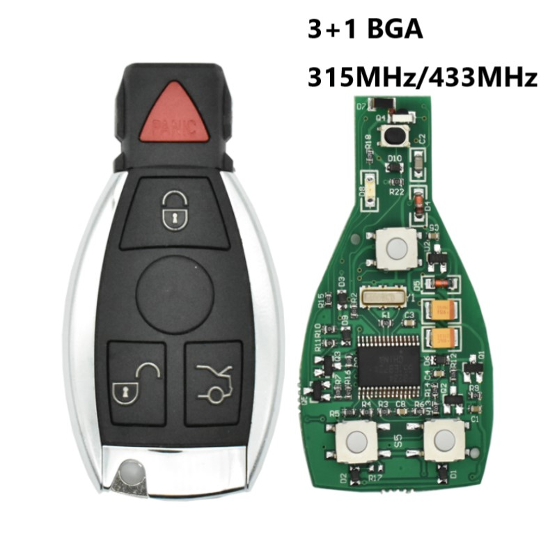 10psc/lot Smart Remote Key 3+1 Button 315mhz BGA style with Chip for Mercedes-Benz 2000+