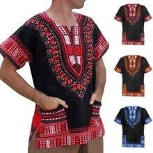Camiseta de verano para hombre, camiseta de manga corta con bolsillos y cuello redondo con estampado africano Vintage, camiseta masculina 2020, camiseta ropa de hombre