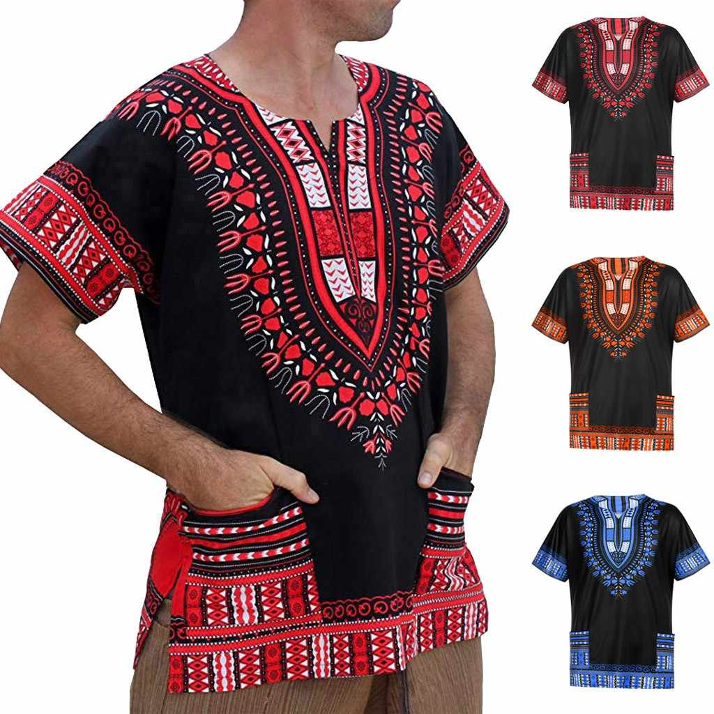 Мужская летняя футболка, homme, Ретро стиль, Африканский принт, короткий рукав, карманы, круглый вырез, топы, рубашка, camiseta masculina, 2019, футболка, одежда