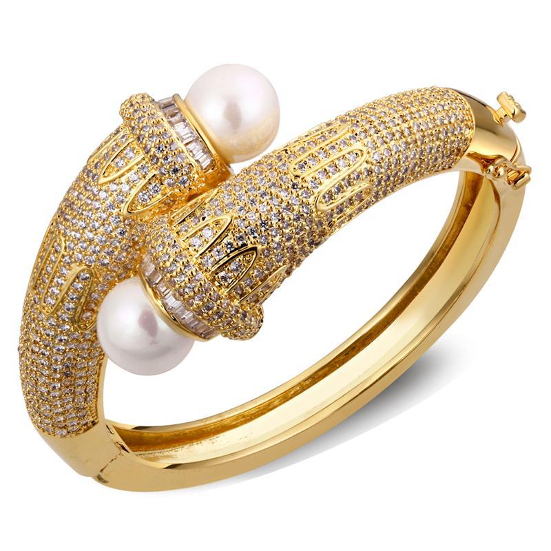 Indian Fashion Jewelry Bollywood Bridal Gold Plated Cz: Free Shipping CZ Stone And Pearl Bangles Luxury Ladies