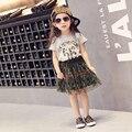 2-7y, 2016 New Fashion Girls Summer Dress Set Baby Camouflage Set Children Girls' Short Mesh Dress Kids Two-piece Clothes