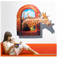 NEW Wall Paintings 3D Three Dimensional Wall Stickers Giraffe Wall Sticker For Home Hotel Room Bathroom