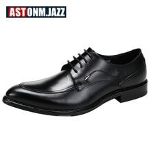 2017 мужские повседневные туфли-оксфорды на шнуровке броги заостренный носок деловые свадебные туфли кожаные туфли натуральная кожа платье обуви для мужчин