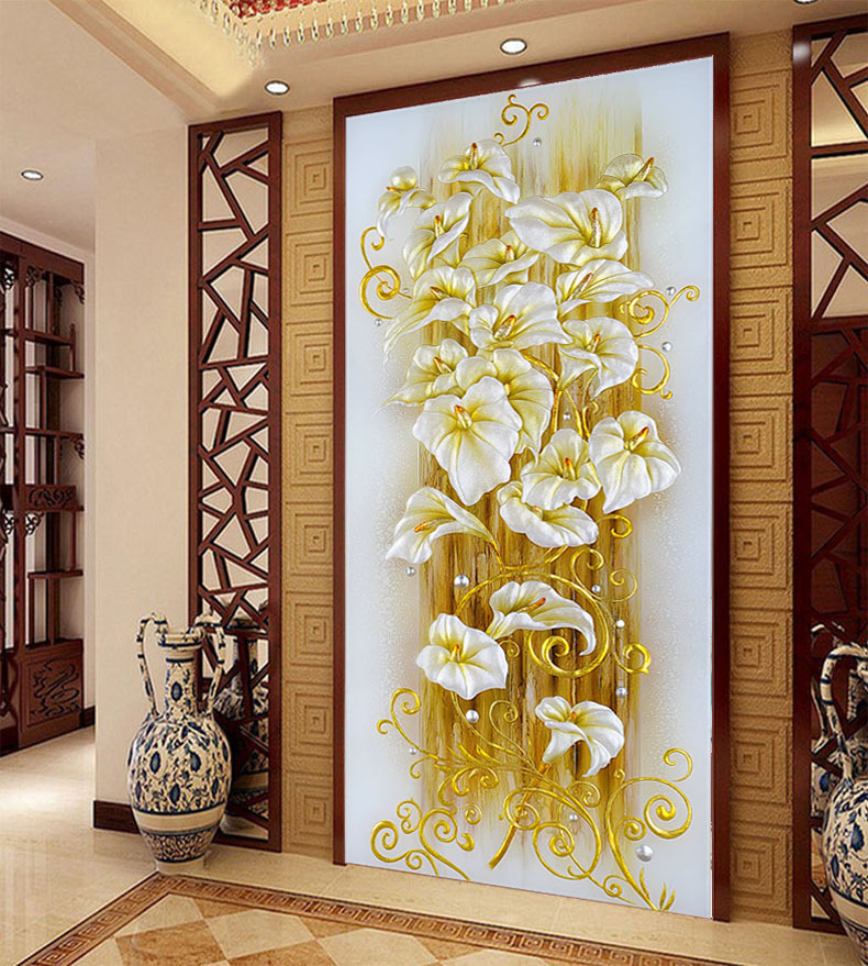 Vertical version rich tree diy 5d diamond painting purple lily diamond embroidery flower icon cross stitch kits mosaic picture