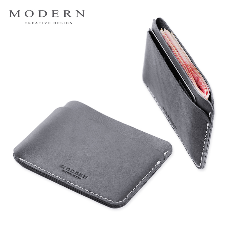 Modern - Luxury Brand New 100% Cow Genuine Leather 0.38cm Super Slim Men Wallets Card Holder Organizer Short Wallet Famous Brand genuine cow leather black brown men wallets luxury brand business fashion style short wallet handy card holder