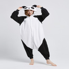Cute Panda Animal Pijamas Kigurumi Unisex Adulta Cosplay Onesies Animales ropa de Dormir Mameluco Largo de la Manga