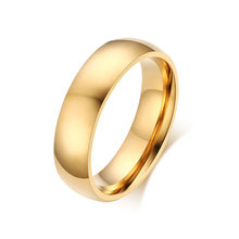 6MM Men's Ring BASIC Wedding Bands for For Men Women Gold Tone Stainless Steel Domed Comfort-fit Male Jewelry Anel Masculinos(China)
