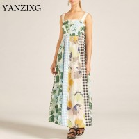 Summer Print Sleeveless Women Dress Off Shoulder High Waist Hit Color Patchwork Long Dresses Female Casual 2019 A401