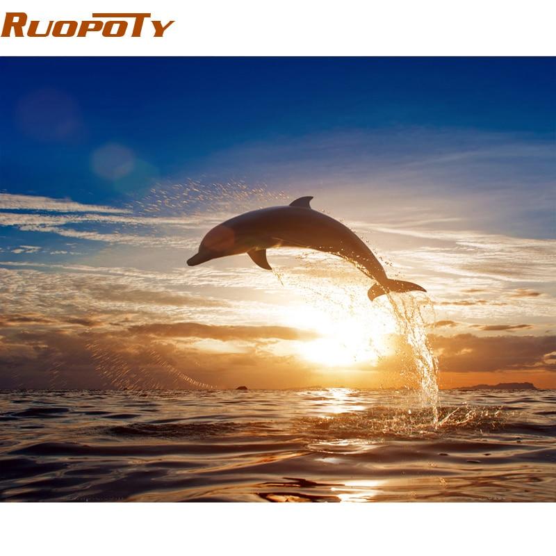 RUOPOTY diy rahmen Sonnenuntergang Dolphin DIY Malen Nach Zahlen Tiere Kalligraphie Malerei Moderne Wandkunst Leinwand Für Home Dekore Art
