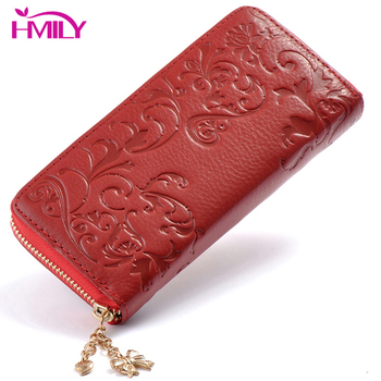 HMILY Genuine Leather Women Wallets Clutch Bag Long Natural Leather Fashion Ladies Purse Multifunction Card Holder Zipper Coin