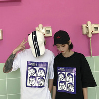 Vogue New Korean Men Tshirt Loose Ripped Holes Tshirt Round Neck Harajuku Streetwear Hip Hop Rock Tee Shirts Tops Big Size