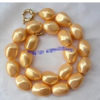 Superbe collier de perles en coquillage de mer du sud baroque en or de 20mm joli bijoux de mariage pour femmes!