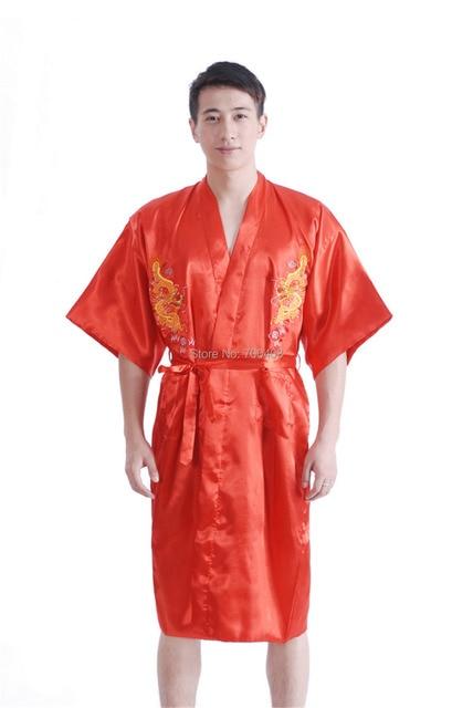 8f29e7a88da9 Free Shipping Mens Satin Red Robe Dragon Bathrobe Kimono Sleepwear Pajama  Gown