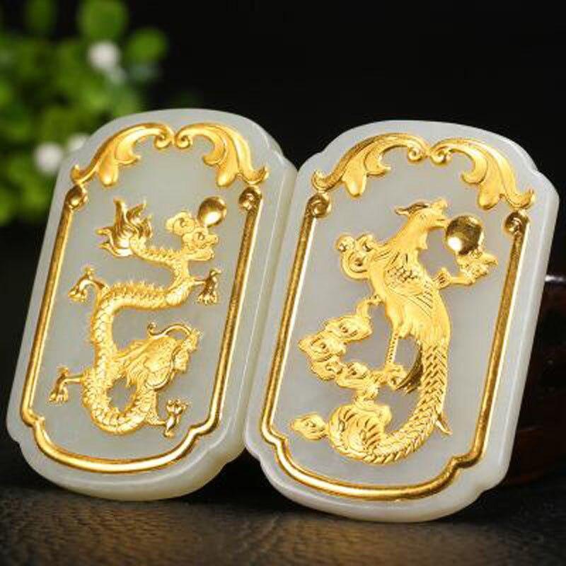 Ю. Синь юаней Fine Jewelry 24 К золото Хотан Jade Dragon Феникс кулон пары одежда