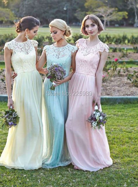 Elegant New Long Chiffon Bridesmaid Dresses For Wedding Party O Neck ...