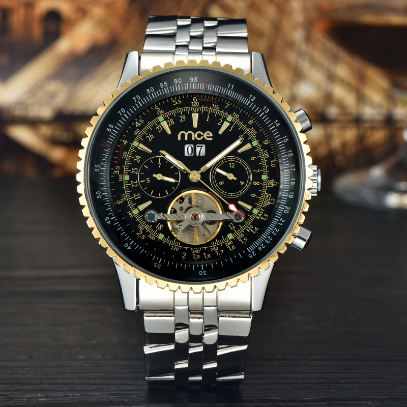 MCE Top Brand Luxury Mens Watches Automatic Mechanical Watch Tourbillon Clock Fashion Casual Business Wristwatch Relojes