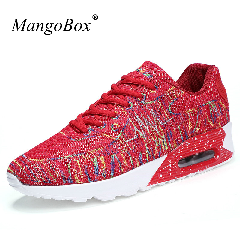 MangoBox 2017 New Arrival Men Women Trainers Sneakers Running Shoes Red/White Air Jogging Walking Shoes Couples Sport Sneakers