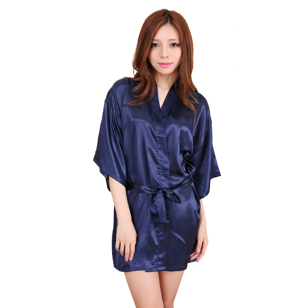 Navy Blue Women Silk Mini Robe Dress Chinese Style Pajamas Lingerie Sexy Kimono Yukata Bath Gown Size S M L XL XXL NR106
