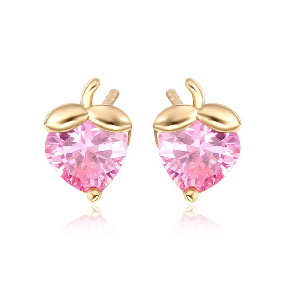 Cute Heart Cut Cubic Zircon Multi Color Strawberry Small Stud Earrings for Kids Girls Children Anti-Allergic Gold Color Jewelry