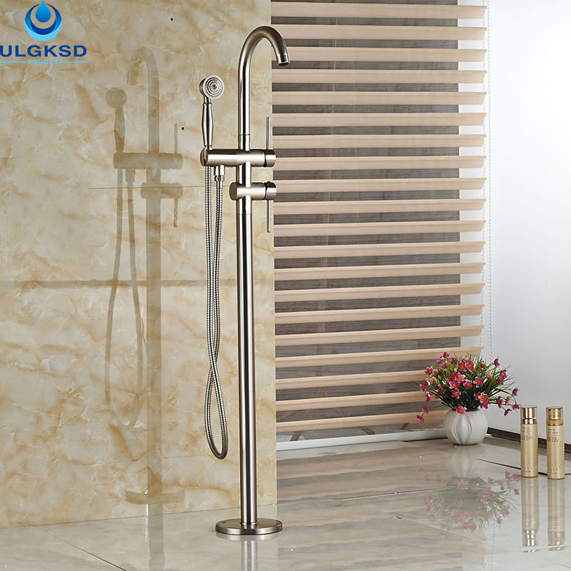 Ulgksd Wholesale and Retail Bathtub Tub Faucet Floor Mounted Tub Filler W/Hand Shower Mixer Tap Bathroom Faucet