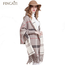 2016 Autumn Winter Women's Thick Cashmere Tartan Scotch Plaid Knitted Reversible Wear Ponchos Pashmina Tassels Shawl Cardigan