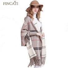 2017 Autumn Winter Women s Thick Cashmere Tartan Scotch Plaid Knitted Reversible Wear Ponchos Pashmina Tassels
