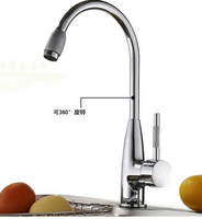 Hot and cold brass kitchen goose faucet with 60cm inlet pipe