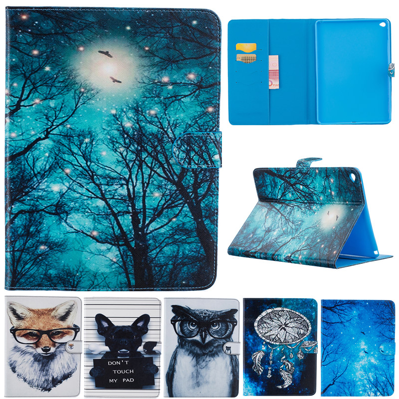 Fashion Cute Cartoon For Ipad 6 Air2 Animal Owl Dog Fox Wallet Card PU Leather Stand Case Cover For Ipad Air 2 Ipad6 Fundas Capa