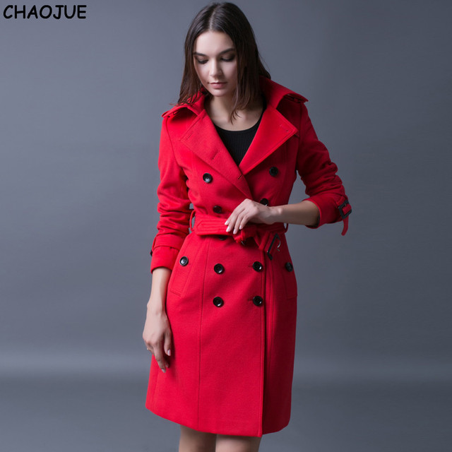 Aliexpress.com : Buy CHAOJUE Red cashmere coat female British 2017 ...