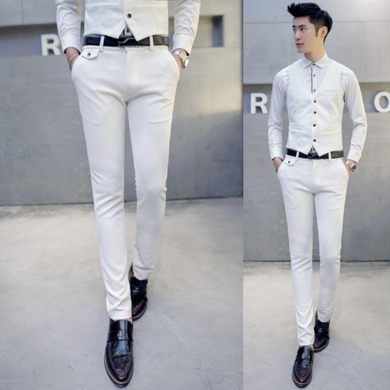 Hommes Affaires Fit Cérémonie Costumes Grande 5xl Gilet Vêtements Mens De Pantalons Costume M Homme Mariage Slim Blanc veste Taille Avec Pantalon IXUxEqqwa