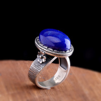 2019 Authentic 925 Sterling Adjustable Silver Ring Natural Afghan Lapis Lazuli Rings Silver Elegant Fine Jewelry for Women Gift