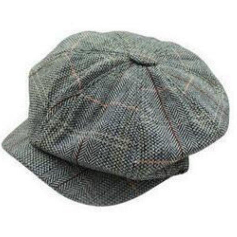936897d21ce7c Men Tweed Beret Cap Peaky Blinders Baker Boy Flat Check Grandad Hat ...