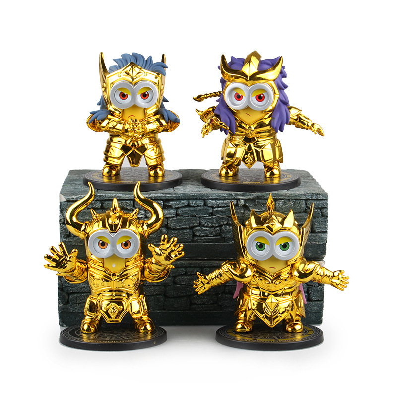WVW 11CM Hot Sale Anime Minions Gold Saint Constellation Model PVC Toy Action Figure Decoration For Collection Gift