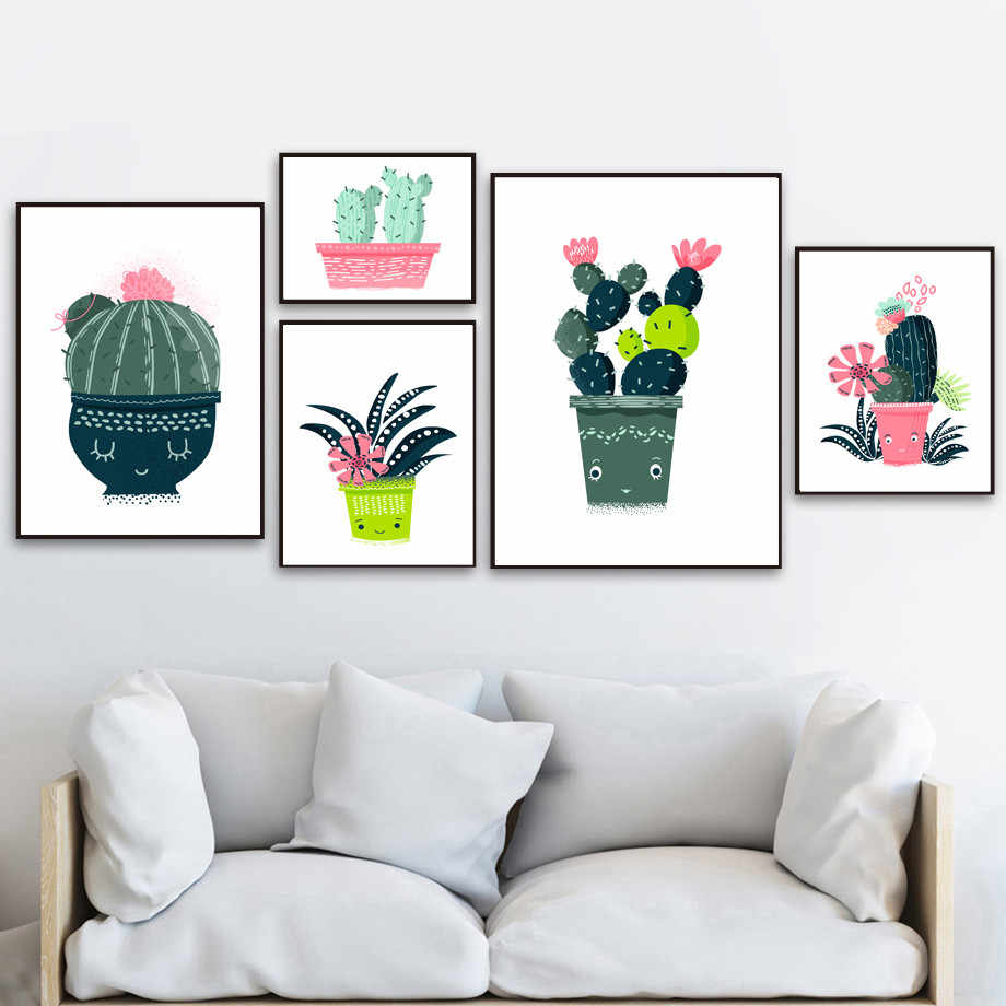 Gohipang Cartoon Cactus Flower Potted Plant Wall Art Canvas Painting Nordic Posters And Prints Pictures For Living Room Framed