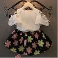 1Color Girls Baby summer 3D Flowers Hollow out short sleeves T-shirt +  Flower skirt sculottes set summer Children 2-piece suit