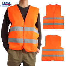 ORANGE Reflective Vest Clothing Motorcycle Night Rider Cycling Safety Security Visibility Traffic Outdoor Sports