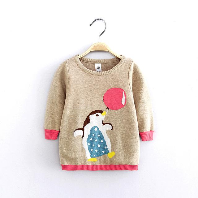 2016 de Otoño de Algodón Mangas Llenas Lindo Pingüino de la Historieta de La Muchacha Suéteres de Tejer Camisas Pullovers Bebé Niños Tops Ropa de Niños